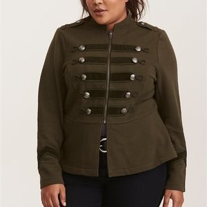 Olive Depths Embellished Zip Front Military Jacket